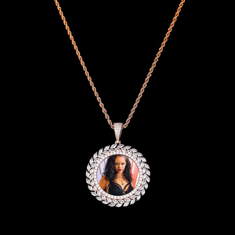 Grain Custom Photo Round Medallion Solid Back Pendant