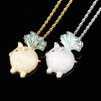 Gold & Silver Cubic Zircon Animal Little Pig Necklace & Pendant - MajesticVUE