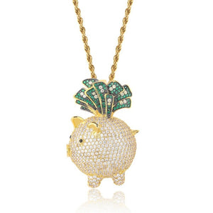 Gold Cubic Zircon Animal Little Pig Necklace & Pendant - MajesticVUE