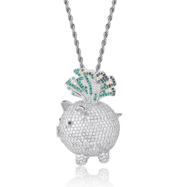 Silver Cubic Zircon Animal Little Pig Necklace & Pendant - MajesticVUE