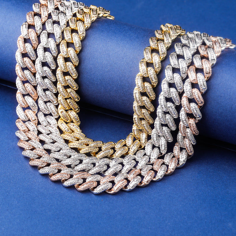 Two Tone Box Clasp Cuban Link Chain Necklace & Pendant - MajesticVUE
