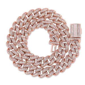 Rose Gold Box Clasp Cuban Link Chain Necklace & Pendant - MajesticVUE