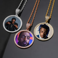 Gold, Rose Gold & Silver Photo Round Medallions CZ Pendant & Necklace - MajesticVUE