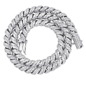 Silver Iced Out Cubic Zircon Cuban Links Chain Necklace - MajesticVUE