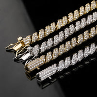 Gold Iced Out Cubic Zircon Cuban Links Chain Necklace - MajesticVUE