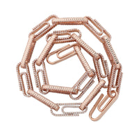 Rose Gold 10mm Paper Clip Iced Out Chain Necklace - MajesticVUE