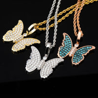 Gold , Rose Gold & Silver Cubic Zircon Bling Butterfly Necklace & Pendant - MajesticVUE