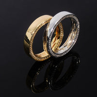 New 925 Sterling Sliver Gold Bling Round Pattern Ring