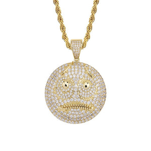 Round Face Bad Mood  Iced Out Pendant
