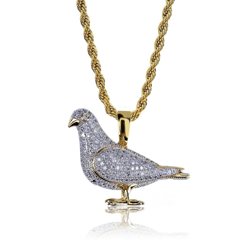 Iced Out  Two Tone Micro Pave Zircon Pigeon Pendant
