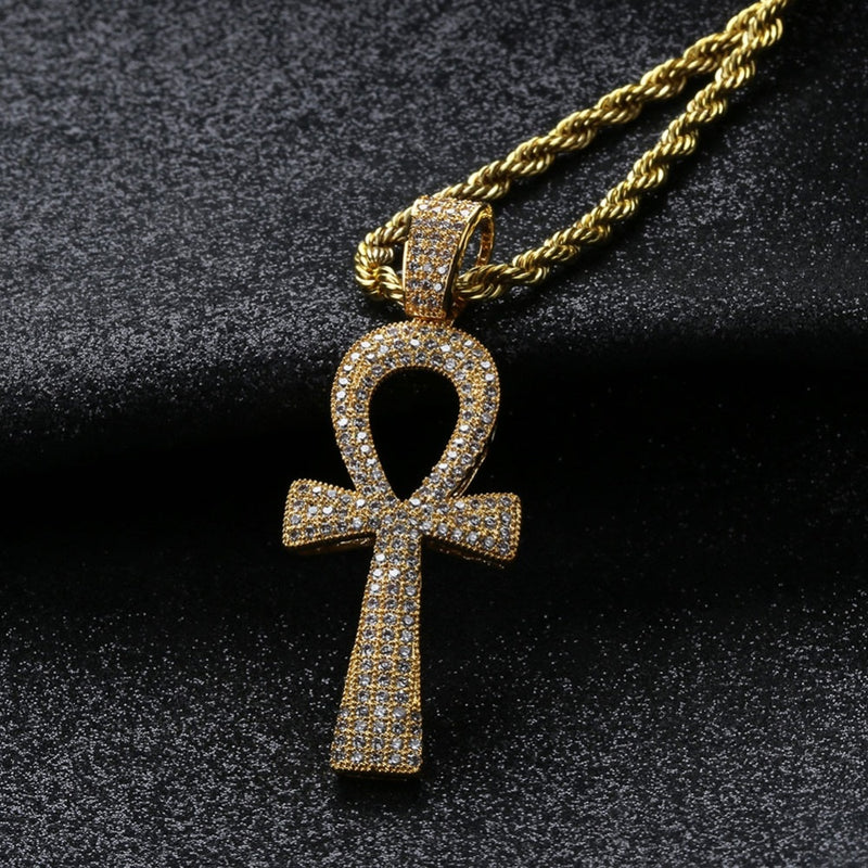 Hip Hop  Ankh Necklace Micro Paved  Pendant