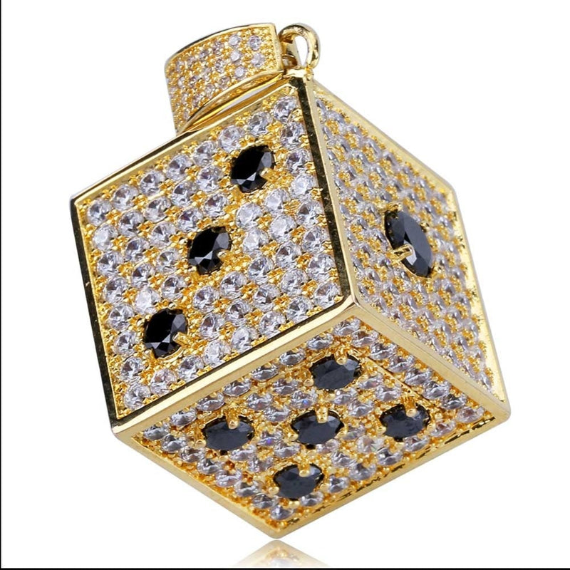 Gold Cubic Zircon Shiny Square Dice Necklace & Pendant - MajesticVUE