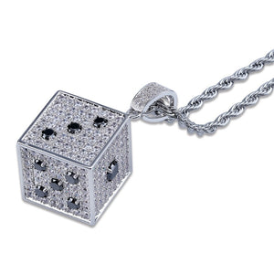 Cubic Zircon Shiny Square Dice Necklace & Pendant