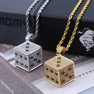 Gold & Silver Cubic Zircon Shiny Square Dice Necklace & Pendant - MajesticVUE