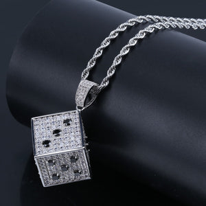 Silver Cubic Zircon Shiny Square Dice Necklace & Pendant - MajesticVUE
