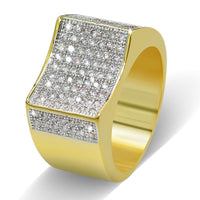 CZ Stones All Iced Out Micro Pave Gold Silver Rings For Men