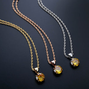 Gold, Rose Gold & Silver Chain With Yellow Stone Cubic Zircon Charm Chain Necklace & Pendant - MajesticVUE