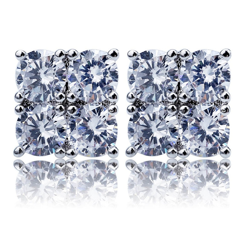Cubic Zircon Square Stud Earrings 2