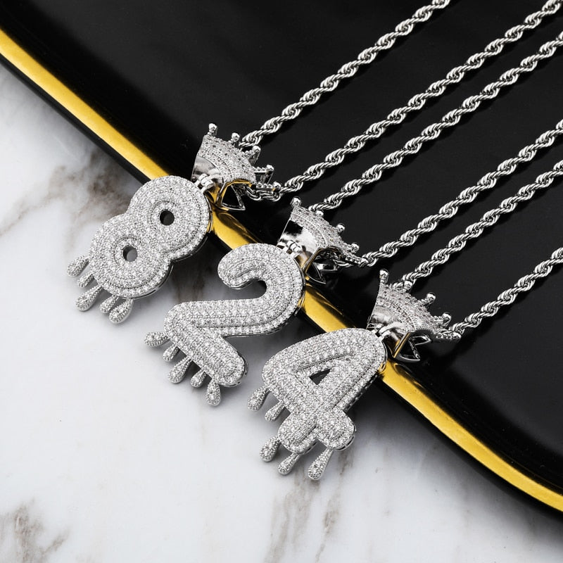Customized Number Crown Drip Pendant & Necklace