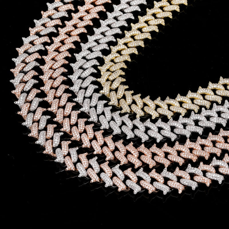 Gold Silver Rose Gold & Two Tone Big Box Clasp Cuban Link Necklace - MajesticVUE