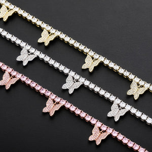 Gold Silver Pink Butterflys CZ Tennis Chain Copper Necklace - MajesticVUE