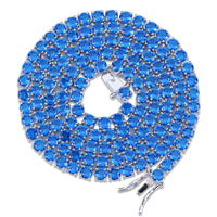 Silver Rock Blue & Red CZ Tennis Chain Necklace - MajesticVUE