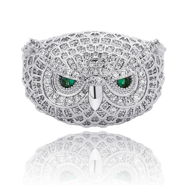 Owl Animal Iced Out Cubic Zircon Ring  For Men Women
