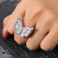 Butterfly  Copper Charm Gold Silver Color Ring For Men
