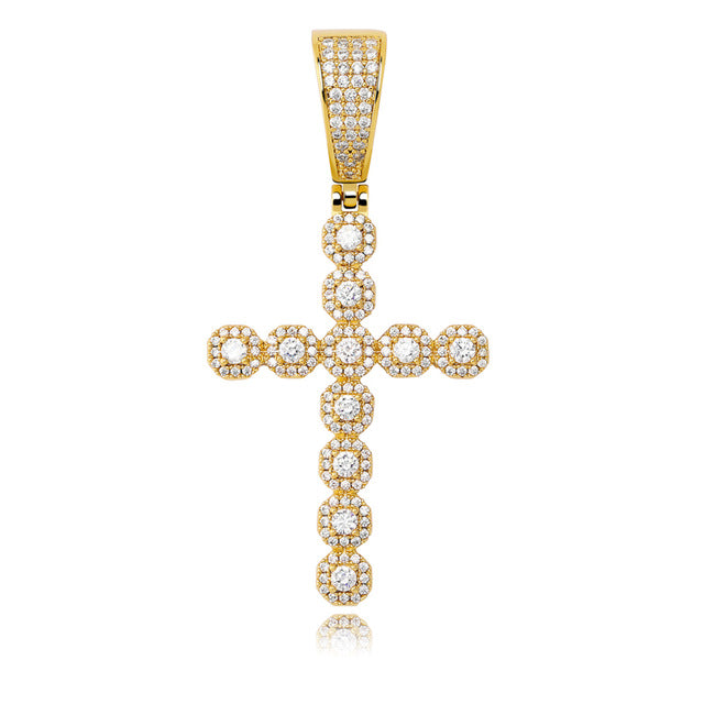 Gold Iced Out Prong Chain Cross Necklace & Pendant - MajesticVUE