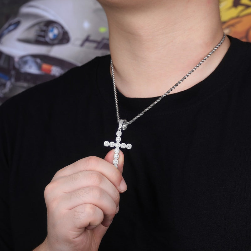 Silver Iced Out Prong Chain Cross Necklace & Pendant - MajesticVUE
