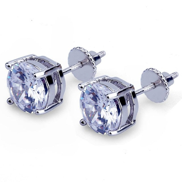 Iced Out Bling Stud Earrings With Screw Back - MajesticVUE