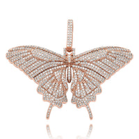 Iced Out Full Cubic Zircon Smaller Butterfly Wings Pendant
