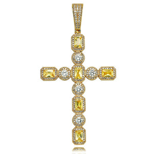 Gold Canary & Clear Princess Cut Solitaire Cross Pendant - MajesticVUE