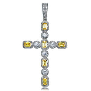 Silver Canary & Clear Princess Cut Solitaire Cross Pendant - MajesticVUE