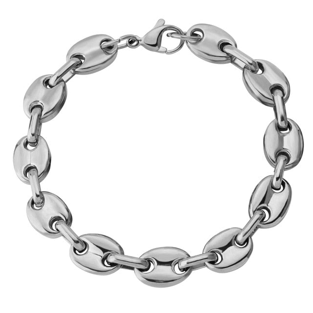 Solid Back Cuban Link Hip Hop Bracelet
