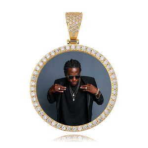Gold Photo Round Medallions CZ Pendant & Necklace - MajesticVUE