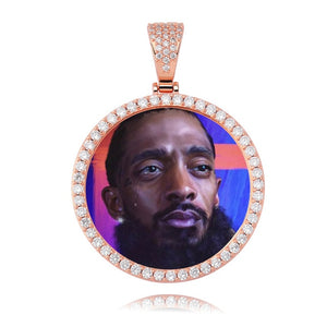 Rose Gold Photo Round Medallions CZ Pendant & Necklace - MajesticVUE