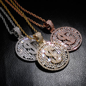 Iced Out Round US Dollar Money Necklace & Pendant