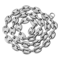 Silver Solid Back Cuban Link Stainless Steel Necklace - MajesticVUE