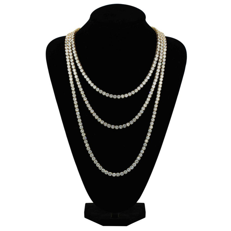 Silver Iced Out Bling AAA Zircon Tennis Chain Necklace - MajesticVUE