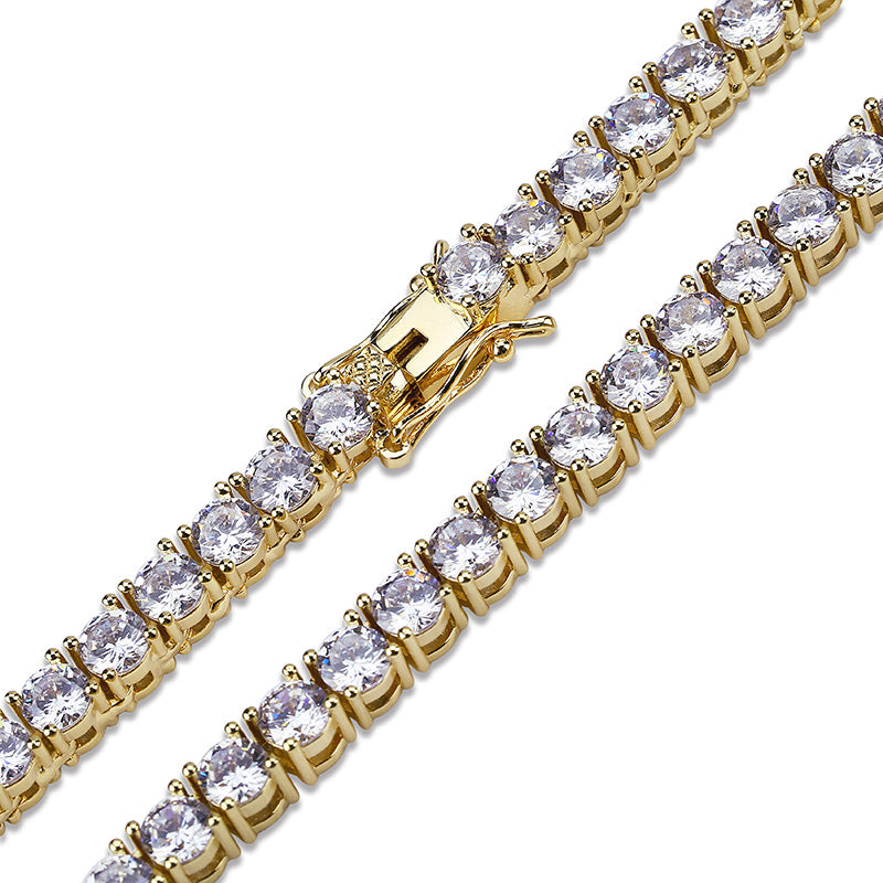 Gold Iced Out Bling AAA Zircon Tennis Chain Necklace - MajesticVUE