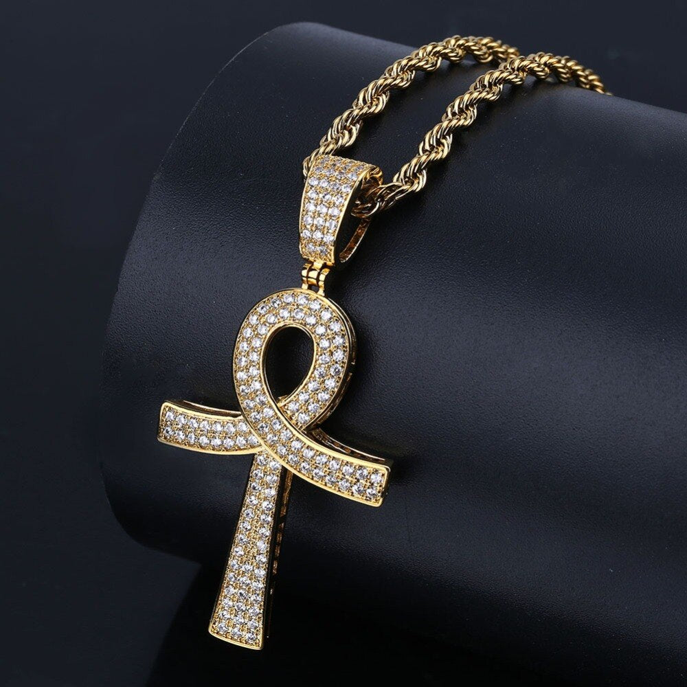 Hip Hop Key Cross Pendant
