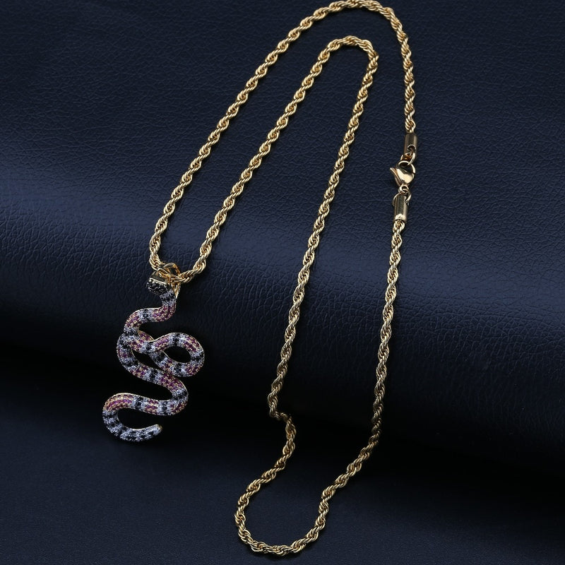 Iced Out Coral Snake Pendant