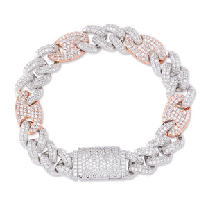 Two Tone Box Clasp CZ Miami Cuban Link Bracelet - MajesticVUE