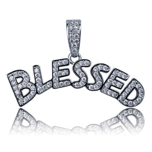 Silver Bubble Letters BLESSED Necklace & Pendant - MajesticVUE