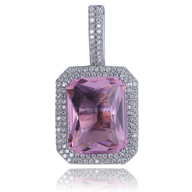 ICED OUT Gem Stones Solitaire Pendant