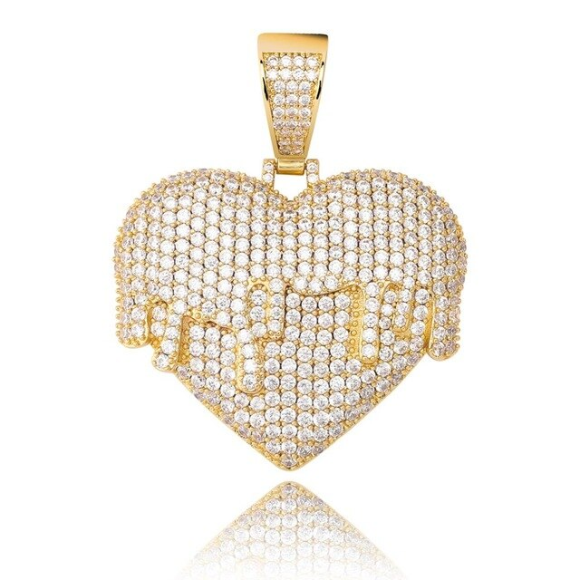 Gold Iced Out Cubic Zircon Heart Necklace & Pendant - MajesticVUE