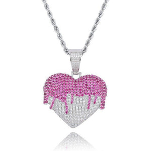 Two Tone Iced Out Cubic Zircon Heart Necklace & Pendant - MajesticVUE