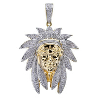 Two Tone Iced Out Bling Cubic Zircon Chief Pendant - MajesticVUE