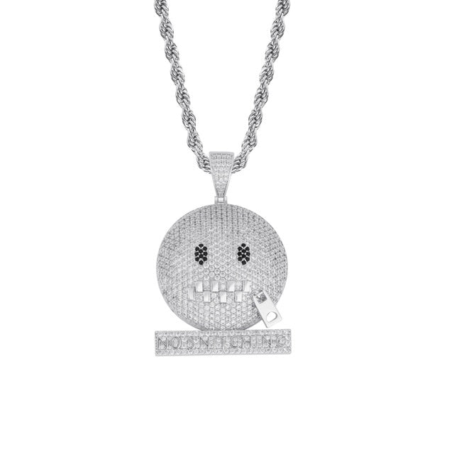 Round Face Character Zipper Mouth Pendant